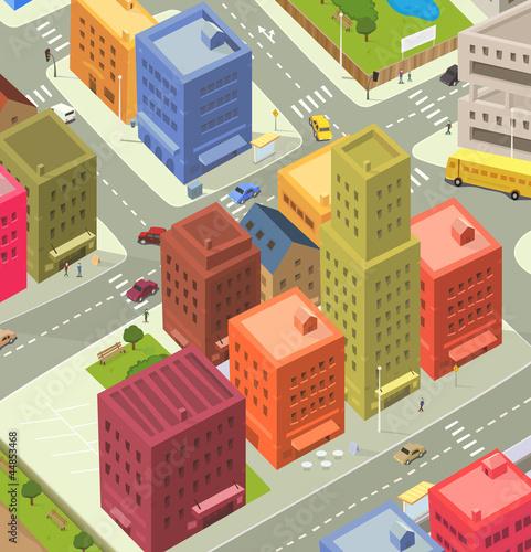 Foto op Aluminium Op straat Cartoon City Aerial View