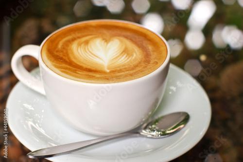 Fotografie, Obraz  Cappuccino or latte coffee with heart shape