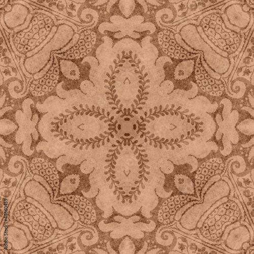 Fotografie, Obraz  Vintage Brown Floral Tapestry