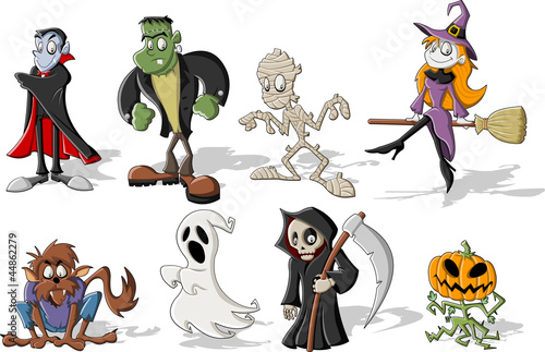 Fotomural  Funny cartoon classic halloween monster characters
