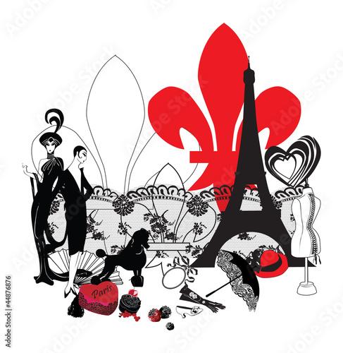 Acrylic Prints Red, black, white miniature symbols of Paris