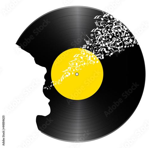 Naklejka ścienna Vinyle_Chanteur
