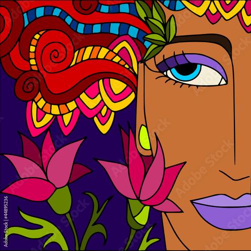 Foto op Canvas Klassieke abstractie viso di donna