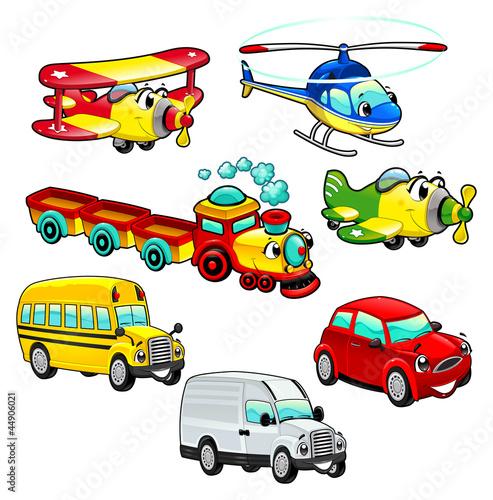 Naklejka ścienna Kolorowe pojazdy dla dzieci na białym tle