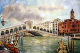 Widok na kanał z mostem Rialto, Wenecja - 44906852