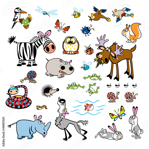 Aluminium Prints Forest animals vector set of childish wild animals