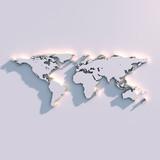Weltkarte Relief auf der Wand