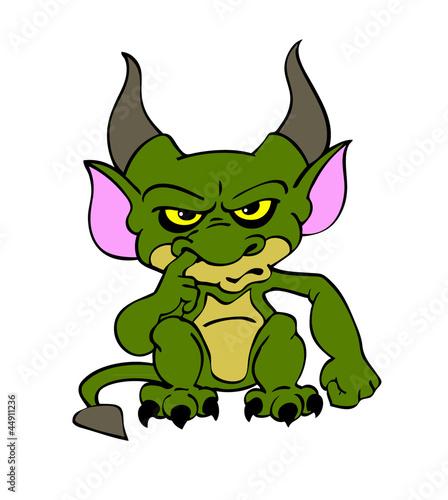 Halloween Goblin Green Canvas Print