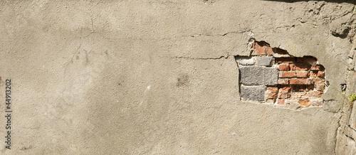 Fototapeta Ściana z cegły z tynkiem obraz