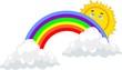 Sun is peeking over the rainbow, as the skies clear from a rain.