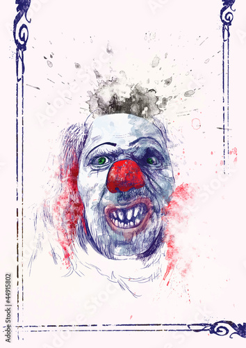 Foto  scary clown (drawing)