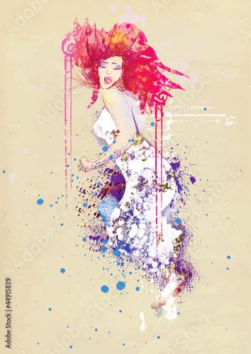 Naklejka premium kobieta w letniej sukience (rysunek)