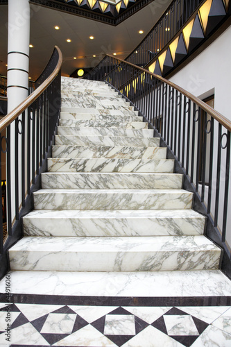 Fotobehang Trappen White marble stair in luxury interior