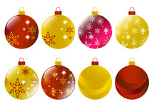 Set Of Christmas Red And Gold Baubles  Vector