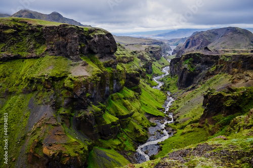 Fotobehang Zwart Thorsmork mountains canyon and river, near Skogar, Iceland