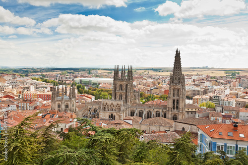 Panorama of Burgos, Spain with the Burgos Cathedral
