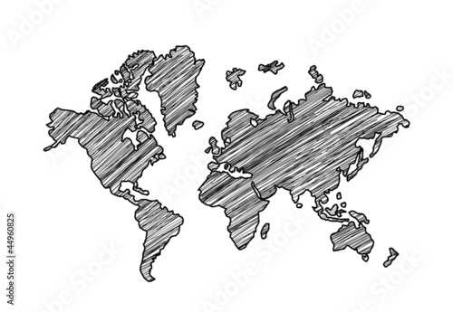 Autocollant pour porte Carte du monde drawing map