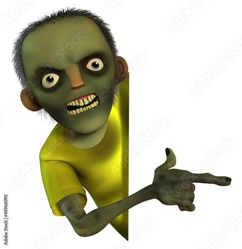 Poster de jardin Doux monstres cartoon zombie boy