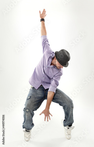 Foto  hip hop dancer isolated over white background
