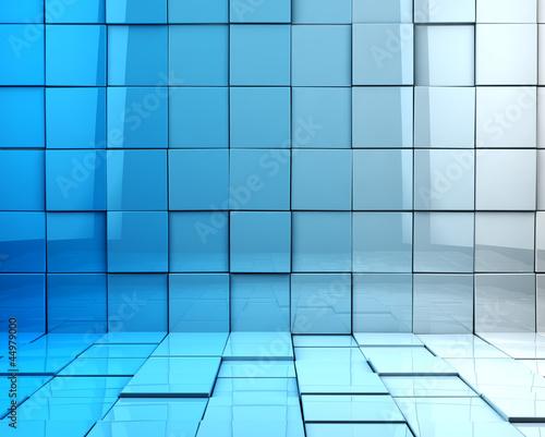 fondo abstracto 3d con cubos en tono azul
