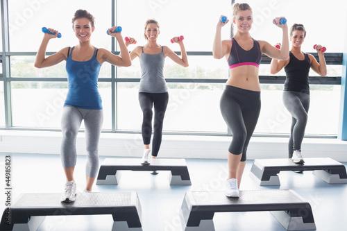 Foto-Stoff bedruckt - Four women lifting weights while doing aerobics (von WavebreakmediaMicro)