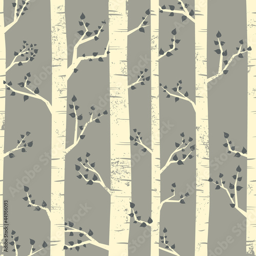 Garden Poster Birds in the forest Birch Trees Background