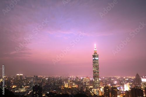 Poster Brooklyn Bridge Taipei night scene with Taipei101