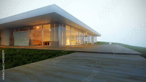 Modernes Flachdach Haus In Hanglage Im Dunst 3d Buy This Stock