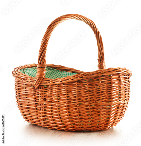 Fotografie, Obraz  Empty wicker basket isolated on white