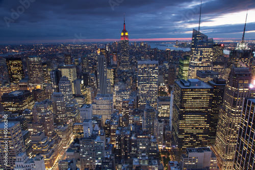 Evening view of New York city, USA