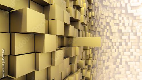Surreale und Abstrakte Sci-Fi Wand 3D Gold