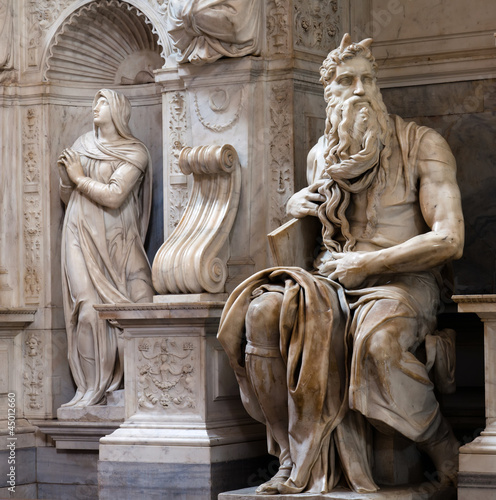 Photo  Moses by Michelangelo in San Pietro in Vincoli, Rome, Italy