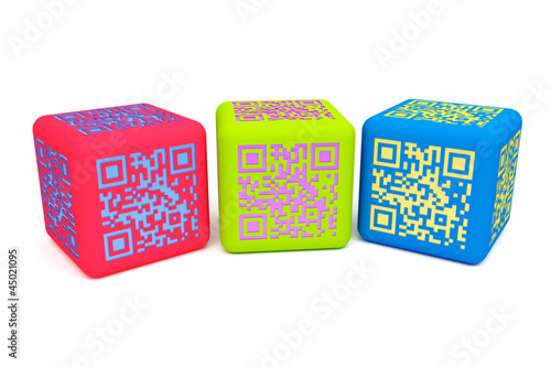Photo sur Toile Pixel Colorful QR cubes 2