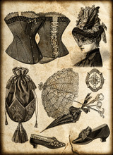 Vintage Drawing Fashion Access...