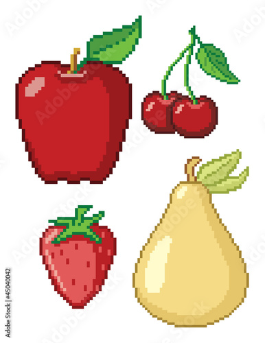 Deurstickers Pixel 8-Bit Fruit Icons