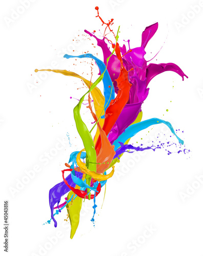 Tuinposter Vormen Colored paint splashes bouquet isolated on white background