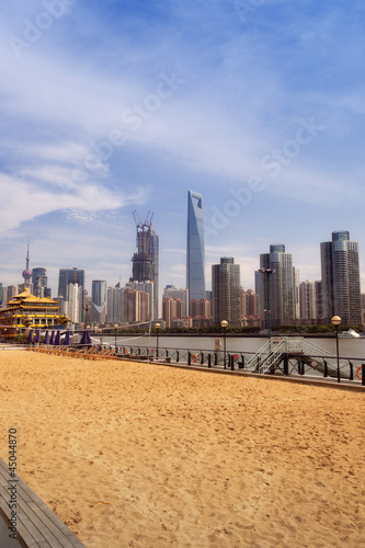 Lujiazui CBD building  and beach Poster