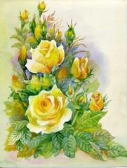 Fototapeta Vintage Watercolor Flower Collection: Roses