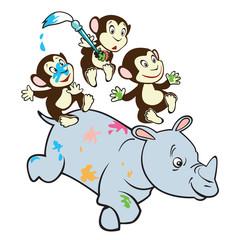 Obraz na płótnie Canvas three cute monkeys riding rhino