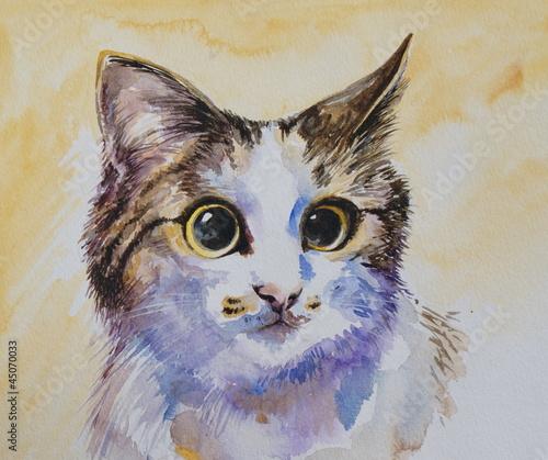 portret-kota-malowane-akwarela