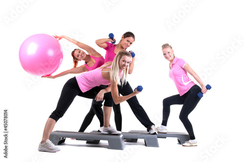 Fotografie, Obraz  group of fitness instructors with accesories
