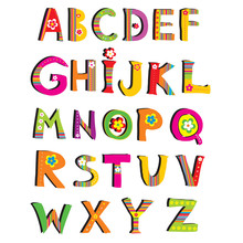 ABC. Vector Flower Font.