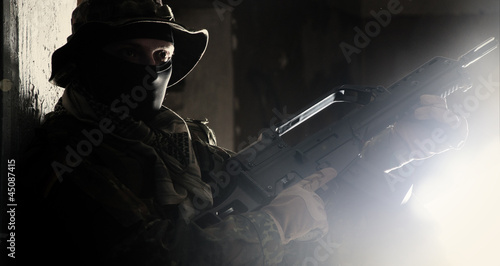 Photo  Military people guarding the secret object. Blockbaster style.