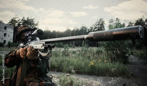 Fotomural  Sniper of bundesfer. Takes aim at the target
