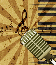 Grunge Music Background With Microphone