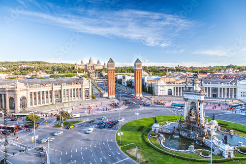 view of the center of Barcelona. Spain Wallpaper Mural