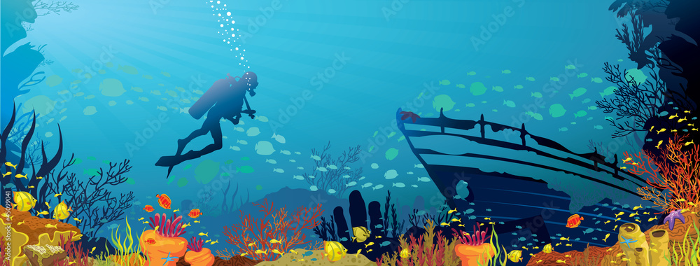 Fototapeta Colored coral reef with fish and diver