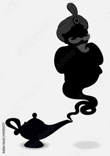 Fotografie, Obraz  Aladdin's Lamp with a ghost isolated on a gray background