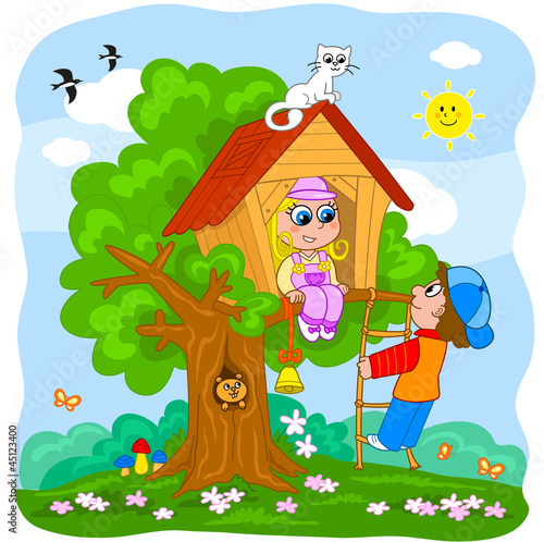 La pose en embrasure Forets enfants Boy and girl playing in a tree house. Cartoon illustration