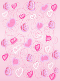 The pink background with hearts and roses